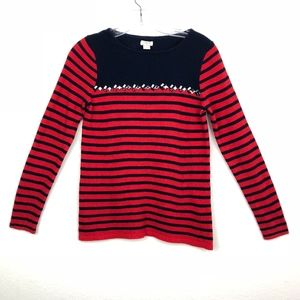J. Crew Striped w gems wool blend navy sweater S